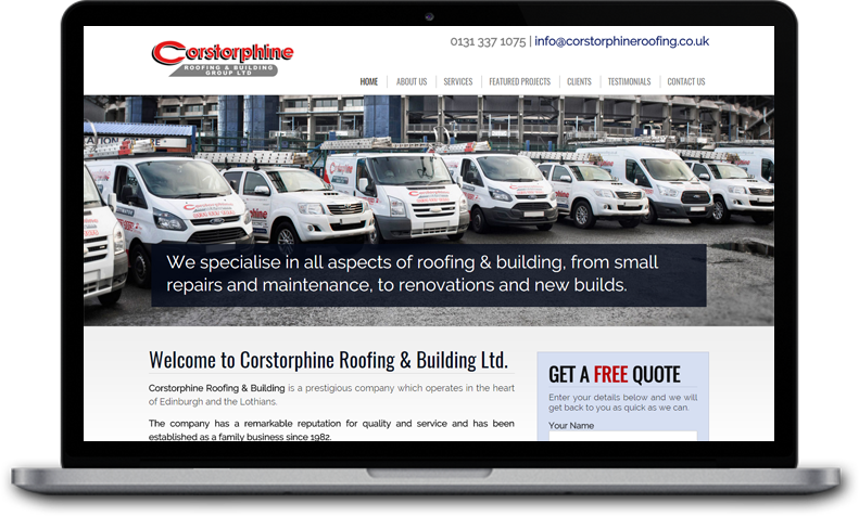 Website Design for Corstorphine Roofing & Building Ltd. Edinburgh