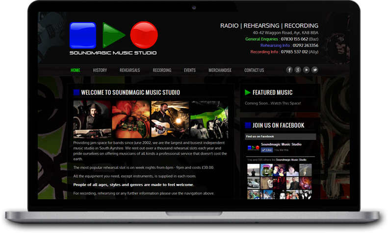 Website Design for Soundmagic Music Studio Ayr
