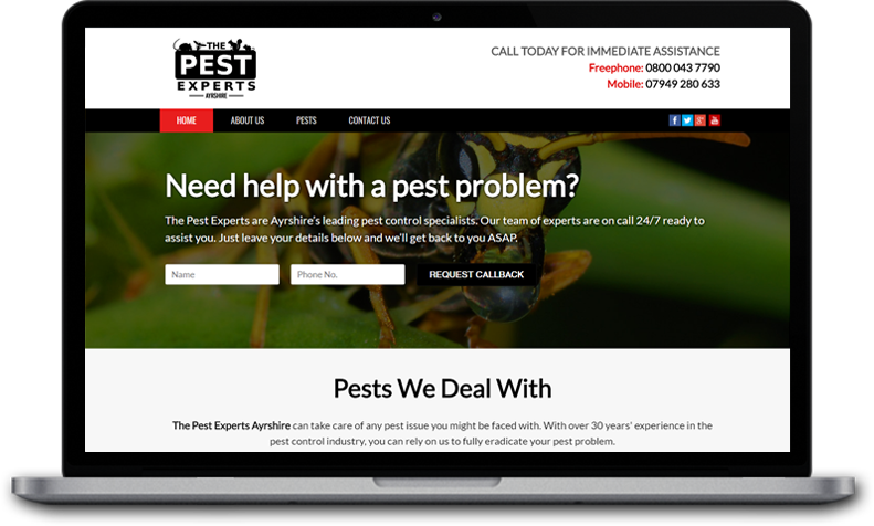 Website Design for The Pest Experts Ayrshire