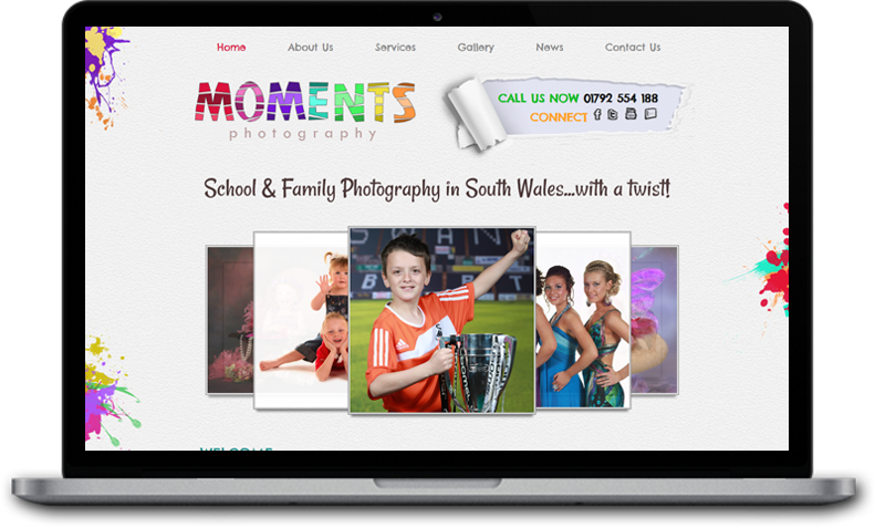 Website Design for Moments Photography Swansea
