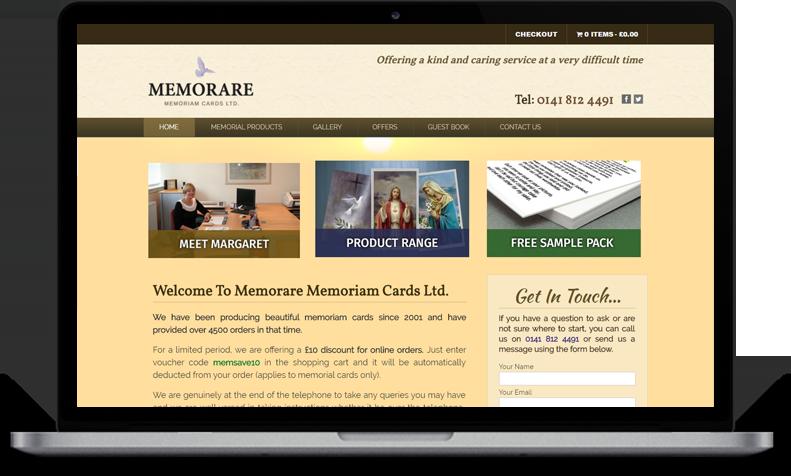 Website Design for Memorare Memoriam Cards Ltd.
